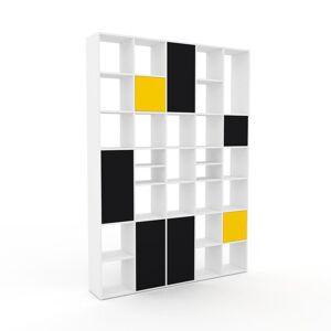 MYCS Bücherregal Weiß - Modernes Regal für Bücher: Türen in Schwarz - 195 x 272 x 35 cm, Individuell konfigurierbar