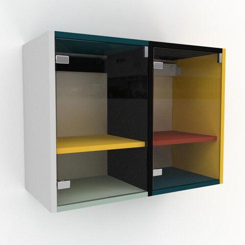 MYCS Hängeschrank Kristallglas klar - Moderner Wandschrank: Türen in Kristallglas klar - 79 x 61 x 35 cm, konfigurierbar