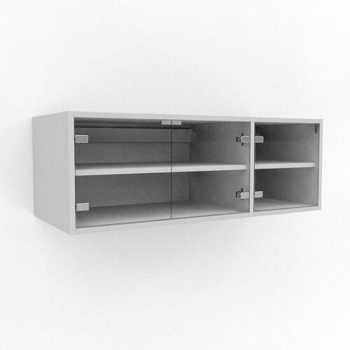 MYCS Hängeschrank Kristallglas klar - Moderner Wandschrank: Türen in Kristallglas klar - 116 x 41 x 47 cm, konfigurierbar