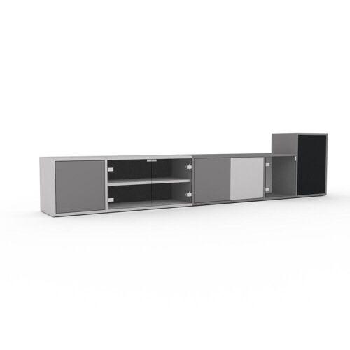 MYCS TV-Schrank Kristallglas klar - Moderner Fernsehschrank: Türen in Kristallglas klar - 267 x 61 x 35 cm, konfigurierbar