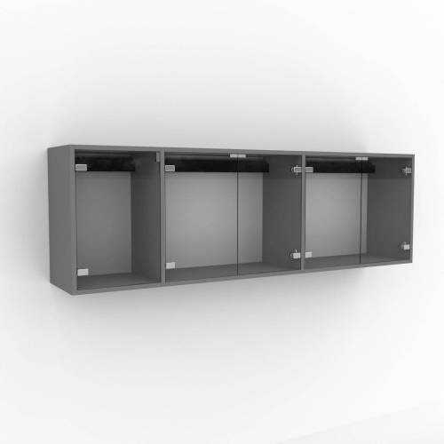 MYCS Hängeschrank Kristallglas klar - Moderner Wandschrank: Türen in Kristallglas klar - 190 x 61 x 35 cm, konfigurierbar