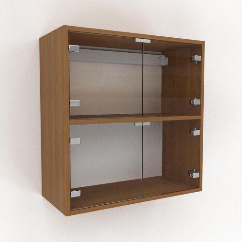 MYCS Hängeschrank Kristallglas klar - Moderner Wandschrank: Türen in Kristallglas klar - 77 x 80 x 35 cm, konfigurierbar