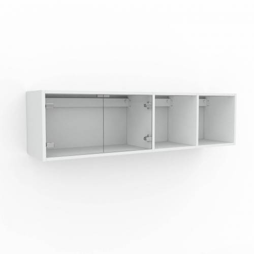 MYCS Hängeschrank Kristallglas klar - Moderner Wandschrank: Türen in Kristallglas klar - 154 x 41 x 35 cm, konfigurierbar