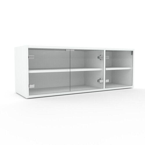 MYCS Vitrine Kristallglas klar - Moderne Glasvitrine: Türen in Kristallglas klar - Hochwertige Materialien - 116 x 41 x 35 cm, Selbst zusammenstellen