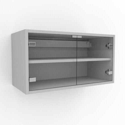 MYCS Hängeschrank Kristallglas klar - Moderner Wandschrank: Türen in Kristallglas klar - 77 x 41 x 35 cm, konfigurierbar