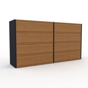 MYCS Kommode Anthrazit - Design-Lowboard: Schubladen in Eiche - Hochwertige Materialien - 152 x 80 x 35 cm, Selbst zusammenstellen