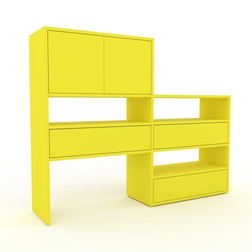 MYCS Holzregal Zitronengelb - Modernes Regal aus Holz: Schubladen in Zitronengelb & Türen in Zitronengelb - 152 x 118 x 35 cm, Personalisierbar