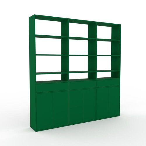 MYCS Holzregal Flaschengrün - Modernes Regal aus Holz: Schubladen in Flaschengrün & Türen in Flaschengrün - 226 x 233 x 35 cm, Personalisierbar