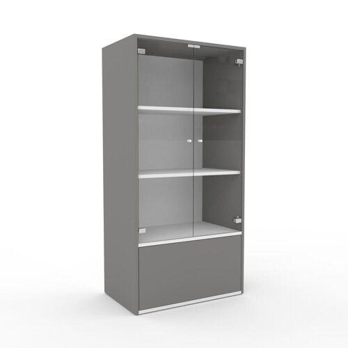 MYCS Bücherregal Kristallglas klar - Modernes Regal für Bücher: Schubladen in Grau & Türen in Kristallglas klar - 77 x 157 x 47 cm, konfigurierbar