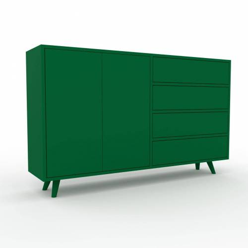 MYCS Holzregal Flaschengrün - Modernes Regal aus Holz: Schubladen in Flaschengrün & Türen in Flaschengrün - 152 x 91 x 35 cm, Personalisierbar