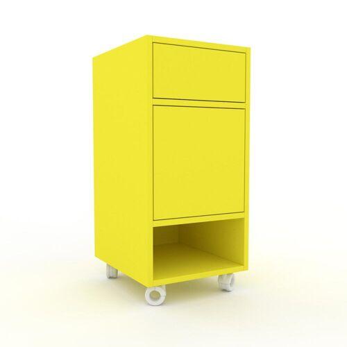 MYCS Bücherregal Zitronengelb - Modernes Regal für Bücher: Schubladen in Zitronengelb & Türen in Zitronengelb - 41 x 87 x 47 cm, konfigurierbar