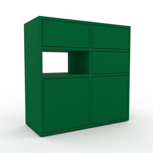 MYCS Holzregal Flaschengrün - Modernes Regal aus Holz: Schubladen in Flaschengrün & Türen in Flaschengrün - 79 x 80 x 35 cm, Personalisierbar