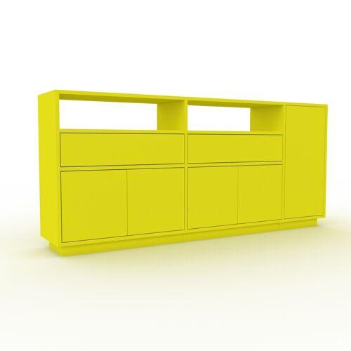MYCS Bücherregal Zitronengelb - Modernes Regal für Bücher: Schubladen in Zitronengelb & Türen in Zitronengelb - 190 x 85 x 35 cm, konfigurierbar