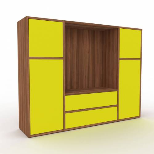 MYCS Bücherregal Zitronengelb - Modernes Regal für Bücher: Schubladen in Zitronengelb & Türen in Zitronengelb - 154 x 118 x 35 cm, konfigurierbar