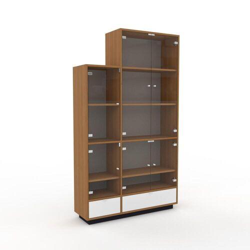 MYCS Bücherregal Kristallglas klar - Modernes Regal für Bücher: Schubladen in Weiß & Türen in Kristallglas klar - 116 x 200 x 35 cm, konfigurierbar