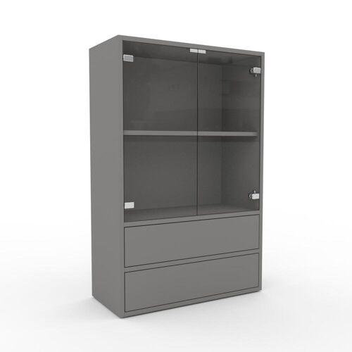 MYCS Bücherregal Kristallglas klar - Modernes Regal für Bücher: Schubladen in Grau & Türen in Kristallglas klar - 77 x 118 x 35 cm, konfigurierbar