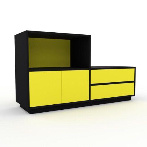 MYCS Bücherregal Zitronengelb - Modernes Regal für Bücher: Schubladen in Zitronengelb & Türen in Zitronengelb - 152 x 85 x 47 cm, konfigurierbar
