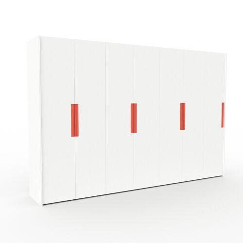 MYCS Kleiderschrank Weiß - Individueller Designer-Kleiderschrank - 354 x 233 x 62 cm, Selbst Designen, Kleiderlift/Hosenhalter