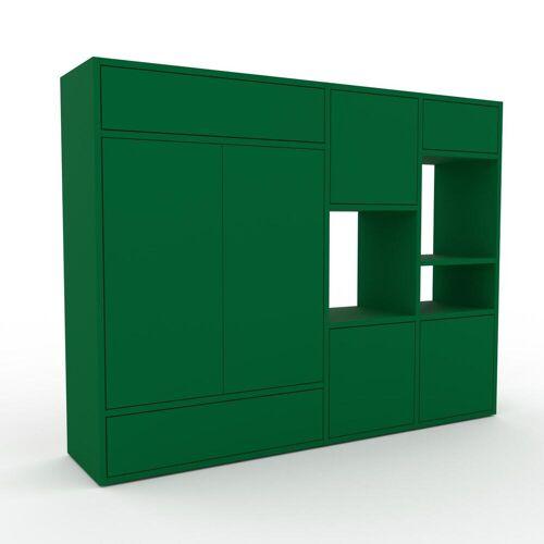 MYCS Holzregal Flaschengrün - Modernes Regal aus Holz: Schubladen in Flaschengrün & Türen in Flaschengrün - 154 x 118 x 35 cm, Personalisierbar