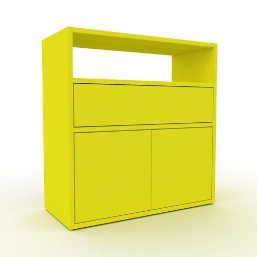 MYCS Bücherregal Zitronengelb - Modernes Regal für Bücher: Schubladen in Zitronengelb & Türen in Zitronengelb - 77 x 80 x 35 cm, konfigurierbar