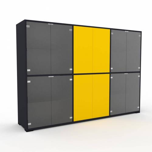 MYCS Sideboard Kristallglas satiniert - Designer-Sideboard: Türen in Kristallglas satiniert - Hochwertige Materialien - 226 x 158 x 47 cm, Individuell...