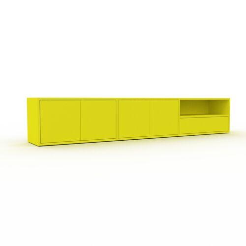 MYCS Bücherregal Zitronengelb - Modernes Regal für Bücher: Schubladen in Zitronengelb & Türen in Zitronengelb - 226 x 41 x 35 cm, konfigurierbar