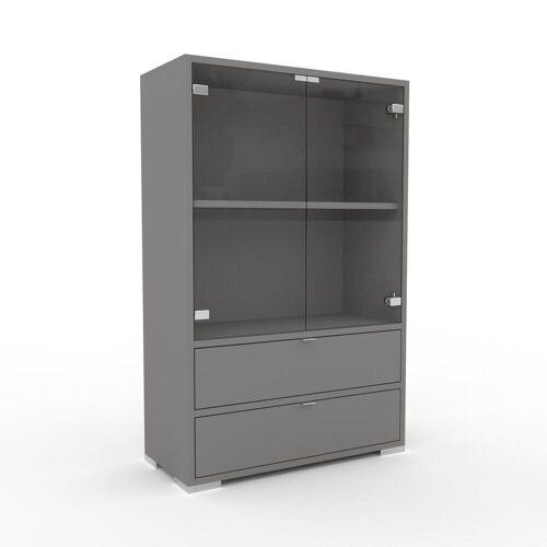 MYCS Bücherregal Kristallglas klar - Modernes Regal für Bücher: Schubladen in Grau & Türen in Kristallglas klar - 77 x 120 x 35 cm, konfigurierbar