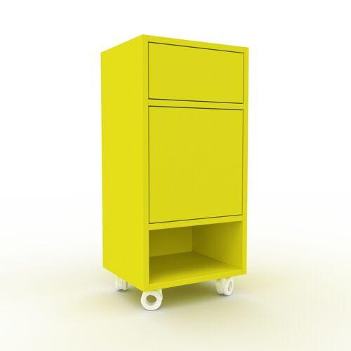MYCS Rollcontainer Zitronengelb - Rollcontainer: Schubladen in Zitronengelb & Türen in Zitronengelb - 41 x 87 x 35 cm, konfigurierbar