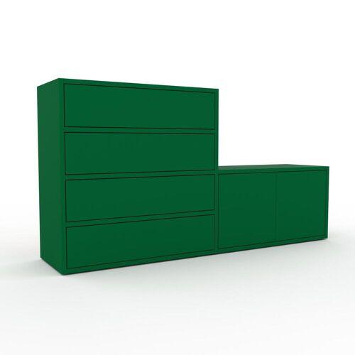 MYCS Holzregal Flaschengrün - Modernes Regal aus Holz: Schubladen in Flaschengrün & Türen in Flaschengrün - 152 x 80 x 35 cm, Personalisierbar