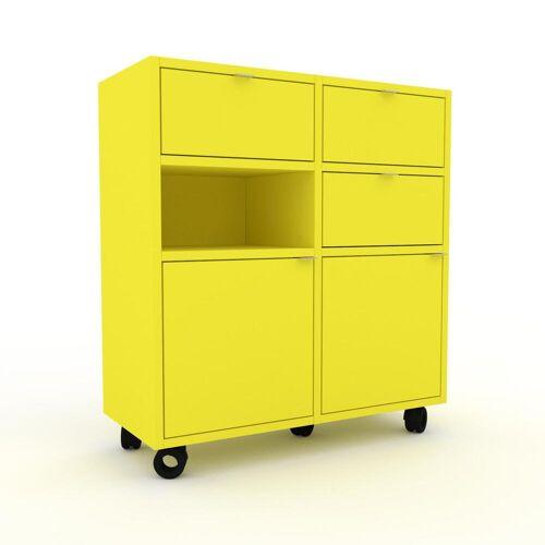MYCS Holzregal Zitronengelb - Modernes Regal aus Holz: Schubladen in Zitronengelb & Türen in Zitronengelb - 79 x 87 x 35 cm, Personalisierbar