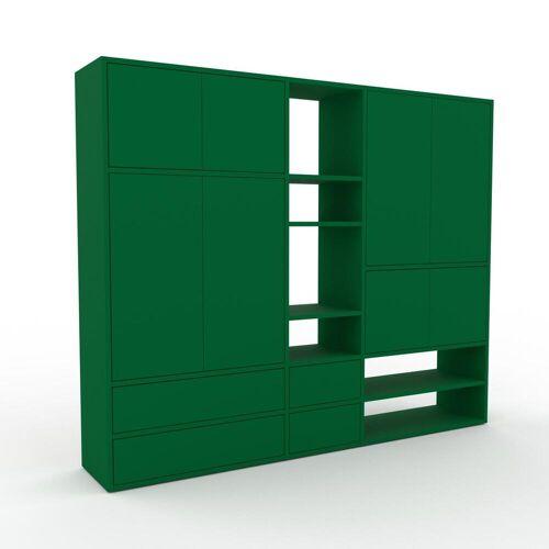 MYCS Holzregal Flaschengrün - Modernes Regal aus Holz: Schubladen in Flaschengrün & Türen in Flaschengrün - 190 x 157 x 35 cm, Personalisierbar