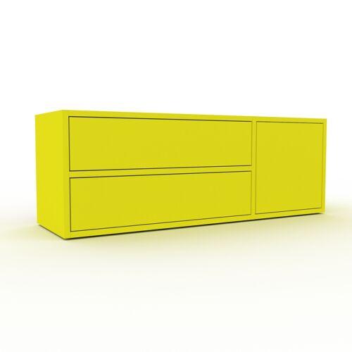 MYCS Bücherregal Zitronengelb - Modernes Regal für Bücher: Schubladen in Zitronengelb & Türen in Zitronengelb - 116 x 41 x 35 cm, konfigurierbar