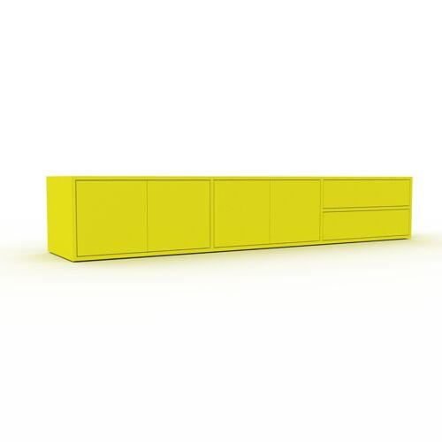 MYCS Bücherregal Zitronengelb - Modernes Regal für Bücher: Schubladen in Zitronengelb & Türen in Zitronengelb - 226 x 41 x 47 cm, konfigurierbar