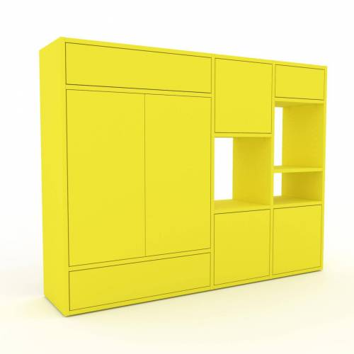 MYCS Holzregal Zitronengelb - Modernes Regal aus Holz: Schubladen in Zitronengelb & Türen in Zitronengelb - 154 x 118 x 35 cm, Personalisierbar