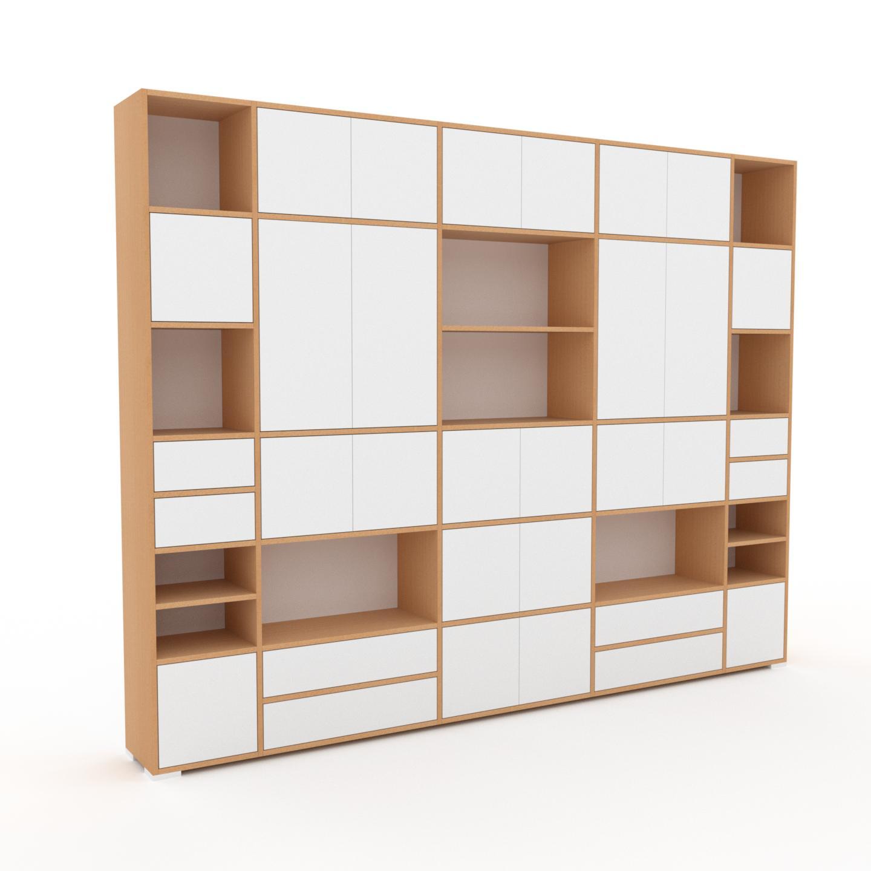 MYCS Wohnwand Weiß - Individuelle Designer-Regalwand: Schubladen in Weiß & Türen in Weiß - Hochwertige Materialien - 303 x 235 x 35 cm, Konfigurator
