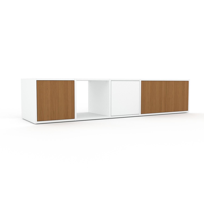 MYCS Bücherregal Eiche - Modernes Regal für Bücher: Türen in Eiche - 193 x 41 x 47 cm, Individuell konfigurierbar