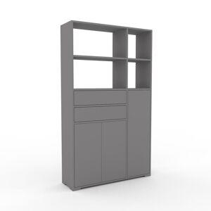 MYCS Bücherregal Grau - Modernes Regal für Bücher: Schubladen in Grau & Türen in Grau - 116 x 196 x 35 cm, konfigurierbar