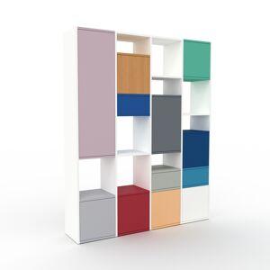 MYCS Holzregal Weiß - Modernes Regal aus Holz: Schubladen in Marineblau & Türen in Lichtgrau - 156 x 195 x 35 cm, Personalisierbar