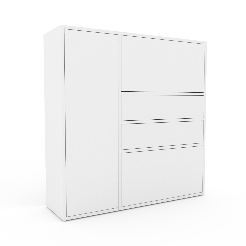 MYCS Bücherregal Weiß - Modernes Regal für Bücher: Schubladen in Weiß & Türen in Weiß - 116 x 118 x 35 cm, konfigurierbar
