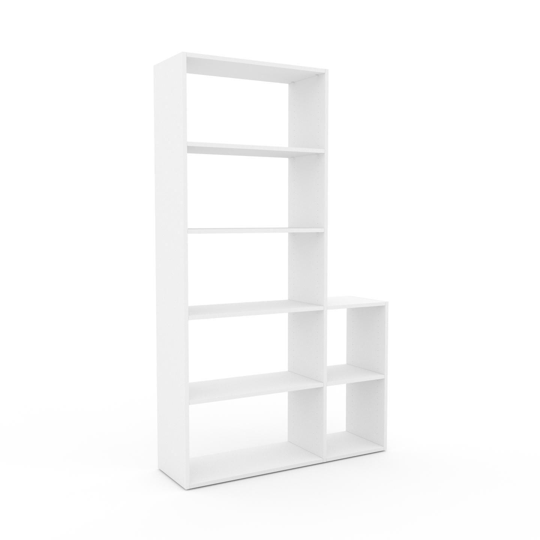 MYCS Bücherregal Weiß - Modernes Regal für Bücher: Hochwertige Qualität, einzigartiges Design - 116 x 195 x 35 cm, Individuell konfigurierbar