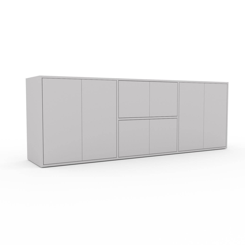 MYCS Bücherregal Hellgrau - Modernes Regal für Bücher: Türen in Hellgrau - 226 x 80 x 47 cm, Individuell konfigurierbar