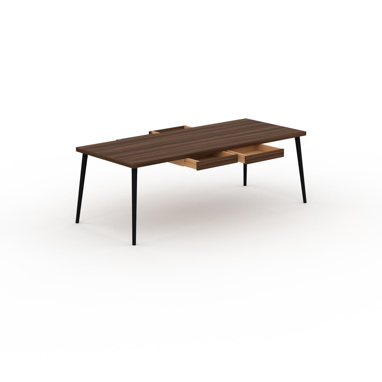 MYCS Holztisch Massivholz Nussbaum - Eleganter Massivholztisch: mit 4 Schublade/n - Hochwertige Materialien - 220 x 75 x 90 cm, konfigurierbar
