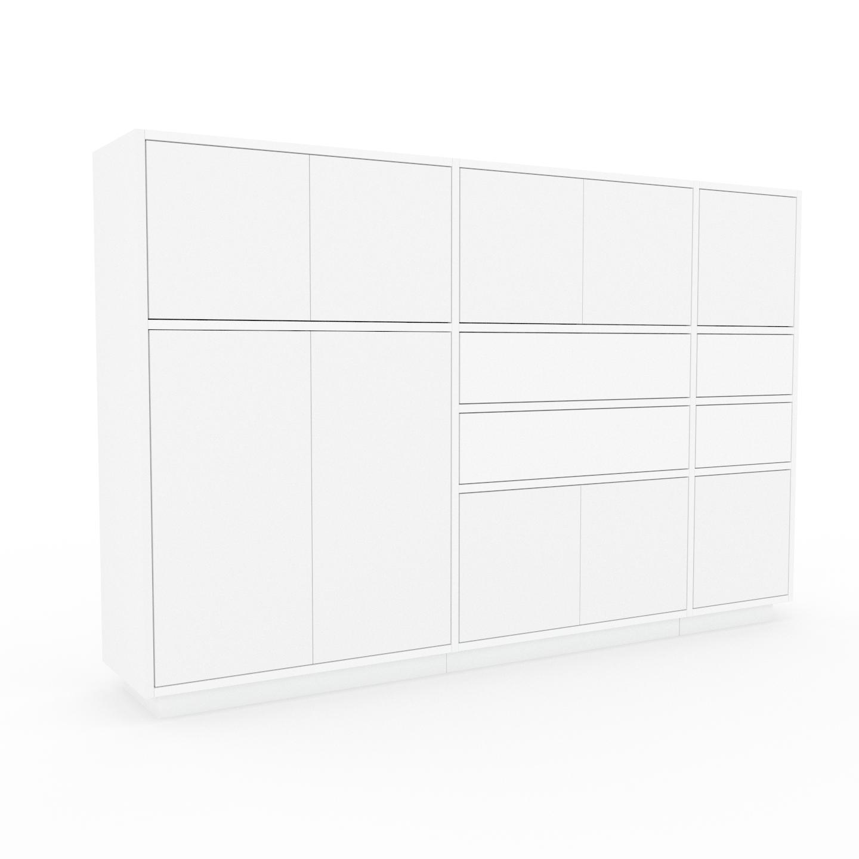 MYCS Holzregal Weiß - Modernes Regal aus Holz: Schubladen in Weiß & Türen in Weiß - 190 x 124 x 35 cm, Personalisierbar