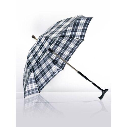 Avena Herren 2 in1-Regenschirm mit Gehstock Blau