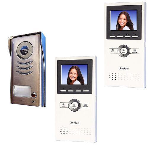 Anykam DT591+ 2xDT16 Video Klingelanlage mit Kamera Türsprechanlage 2-Draht Technik