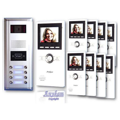 Anykam D8ID 16 Video Türsprechanlage Videosprechanlage Türklingel 8-Familienhaus 2Draht