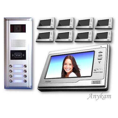 Anykam D8ID 692 Video Türsprechanlage Videosprechanlage Türklingel 8Familienhaus 2Draht
