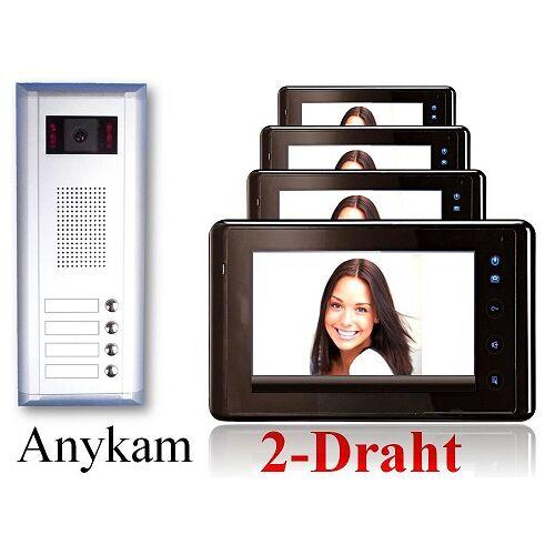 Anykam S4+27-B Video Türsprechanlage Videosprechanlage Türklingel 4-Familienhaus 2Draht