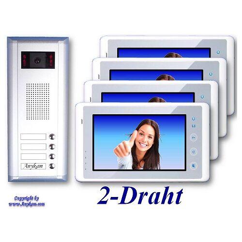 Anykam S4+27-W Video Türsprechanlage Videosprechanlage Türklingel 4-Familienhaus 2Draht