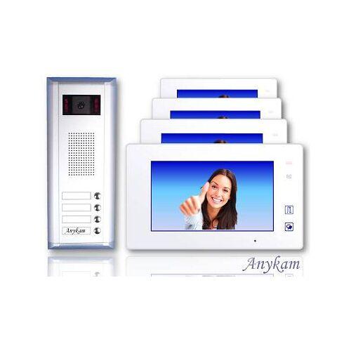 Anykam S4+ DT47M-W Video Türsprechanlage Videosprechanlage 4-Familienhaus 2Draht